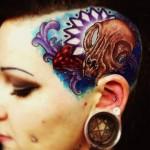 Cat Skull New School tattoo on Head