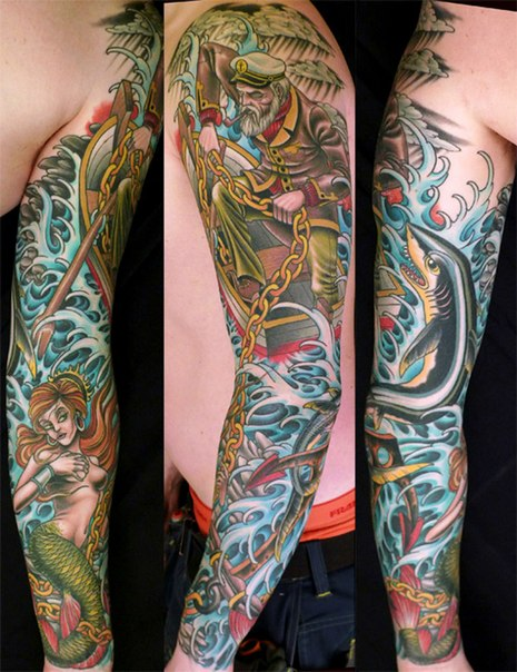 Catch the Mermaid Captain tattoo sleeve