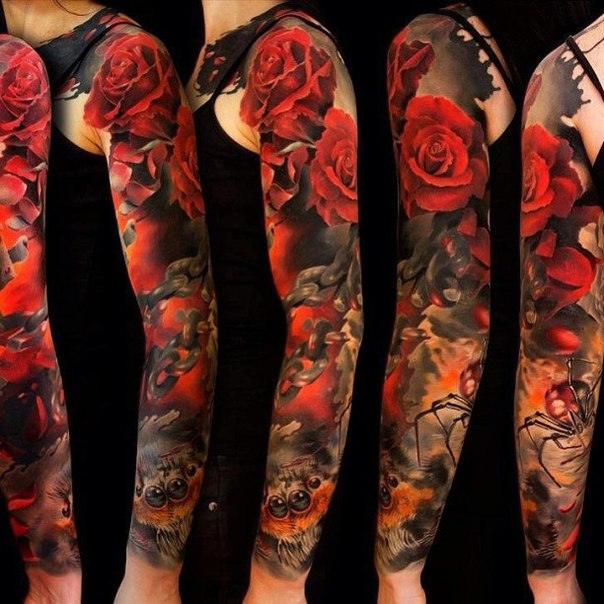 Chain Spider and Red Roses tattoo sleeve