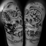 Chaos Opportunity Lettering Skull tattoo by Westfall Tattoo