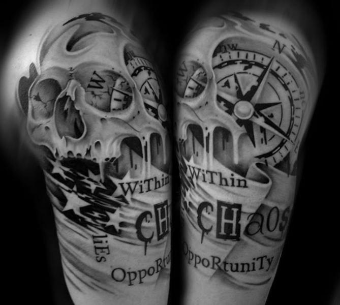 chaos opportunity lettering skull tattoo by westfall tattoo best tattoo ideas gallery. Black Bedroom Furniture Sets. Home Design Ideas