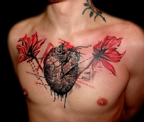 Chest Poppy Heart Trash Polka tattoo