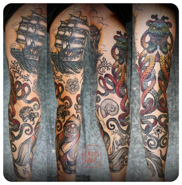 Chicano Octopus and Ship tattoo sleeve