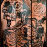 Chicano Skull tattoo on Shoulder by Chapel tattoo