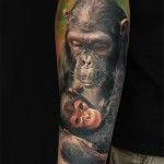 Chimp Mom and Kid Realistic tattoo by Led Coult