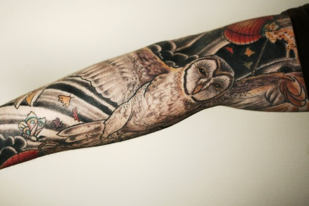 Chinese Flying Owl tattoo sleeve