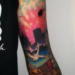 City Subway Landscape tattoo sleeve