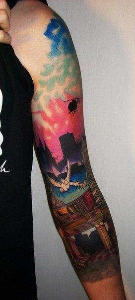 City Subway Landscape tattoo sleeve