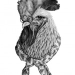 Clever Rooster tattoo sketch