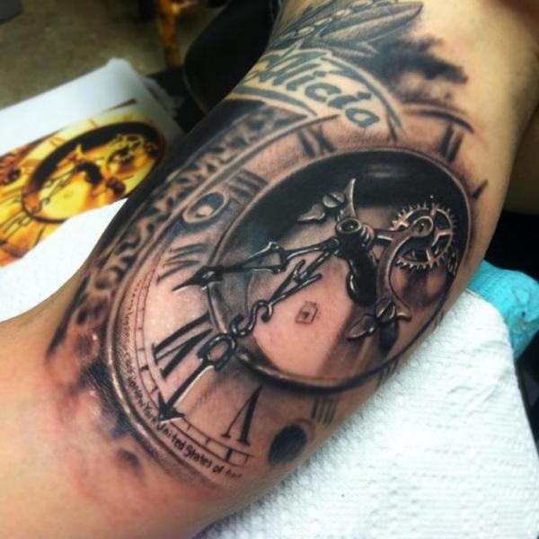 picep clock tattoo by Johnny Smith Art