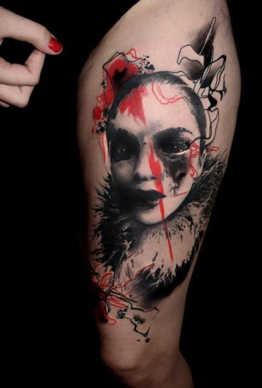 Close-Up Girl Face Trash Polka tattoo