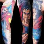 Close-up Superman tattoo sleeve