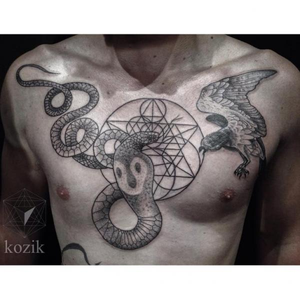 Cobra Snake and Eagle Dotwork tattoo by Hidden Moon Tattoo