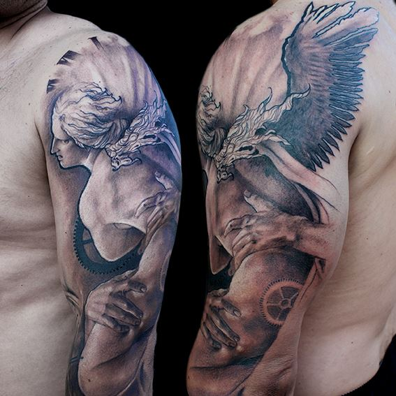 Cogwheel Angel tattoo by Jak Connolly