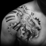 Cogwheel Lion Graphic tattoo by Westfall Tattoo