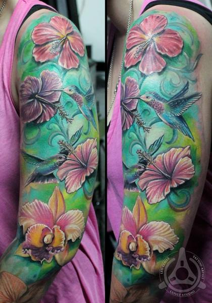 Colibri in Pink Flowers Realistic tattoo by Led Coult
