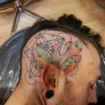 Color Crystals Head tattoo