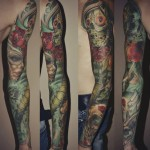 Color Realistic Chicano tattoo sleeve