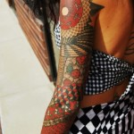 Colored Cubes and Crircles tattoo sleeve