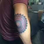 Colorful Elbow Mandala tattoo by Last Angels Tattoo