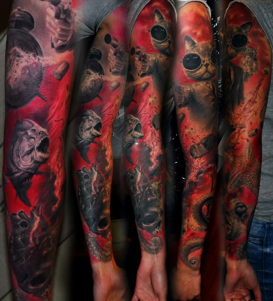 Cool Cat Killer tattoo sleeve