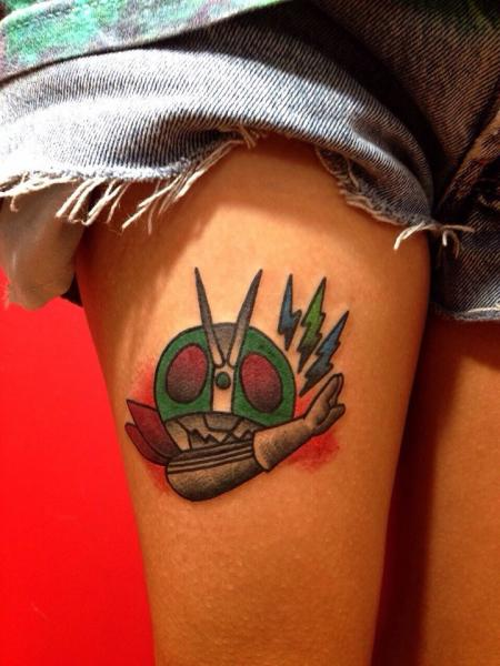 Cool Character New School tattoo by Chopstick Tattoo on Thigh