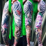 Crane Lotus and Carp tattoo sleeve