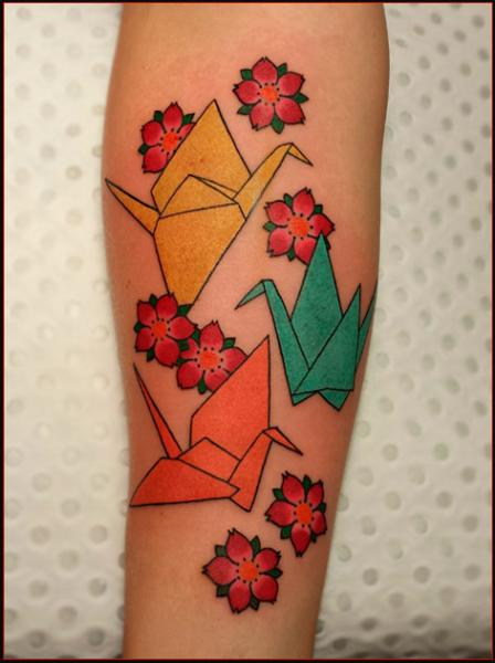 Crane Origami Japanese tattoo by Ch