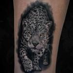 Crawling Leopard Realistic tattoo by Black Ink Studio