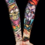 Crazy Skull and Vampire tattoo sleeve