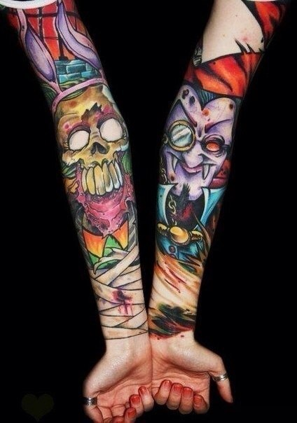 Crazy Scull and Vampire tattoo sleeve