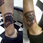 Crazy Wolf Cover Up tattoo design on leg