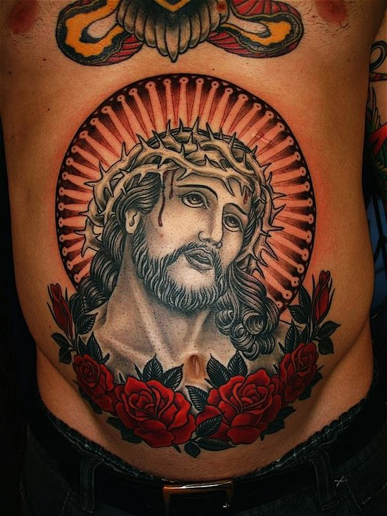 Crown of Thorns Jesus Old School Religious tattoo
