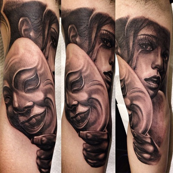 Cry Behind the Mask Chicano tattoo