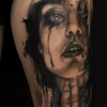 Crying Girl Trash Polka tattoo