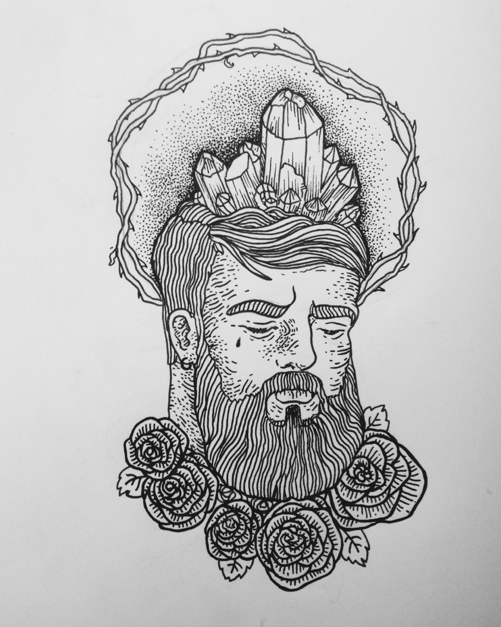 Crystal Brained traditional tattoo sketch