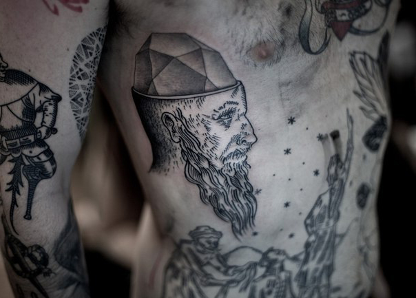 Crystal Minded Oldman Graphic tattoo idea