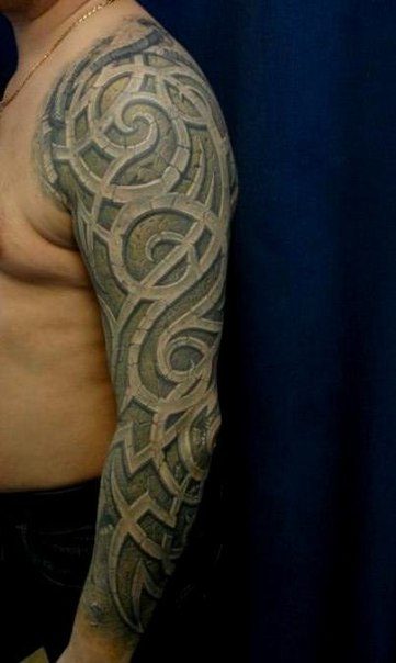 Curved Tracery tattoo sleeve