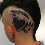 Cut Heart Scythe Blackwork head tattoo design