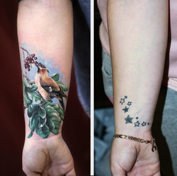 Cute Bird Cover Up tattoo design