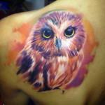 Cute Owl Aquarelle tattoo by Adam Kremer