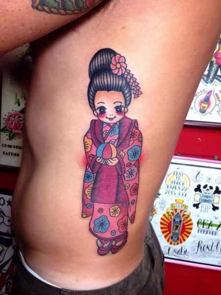 Cute Smiling Asian Girl tattoo by Chopstick Tattoo