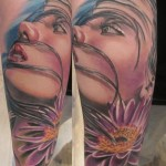 Cute Woman Flower Realistic tattoo by Marked For Life
