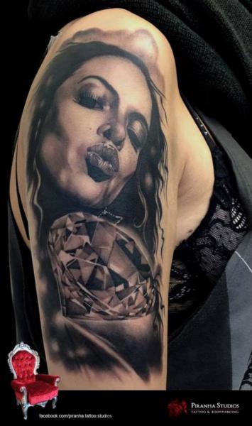 DImond Kiss Lips Realistic tattoo by Piranha Tattoo Studio