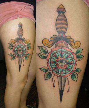 Dagger Eye Flower Old School tattoo by Last Angels Tattoo