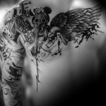 Dark Angel Gas Mask Girl Blackwork tattoo by Westfall Tattoo