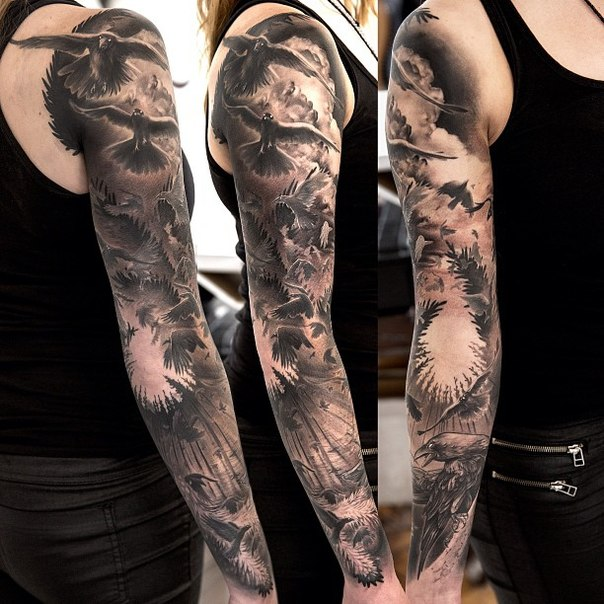 Dark Forest Ravens Blackwork tattoo sleeve