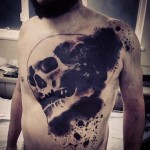 Dark Skull Trash Polka tattoo on Body