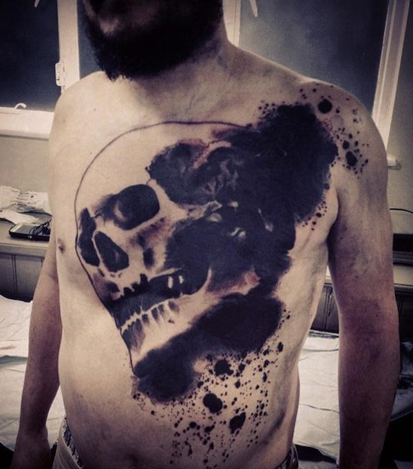 Dark Scull Trash Polka tattoo on Body
