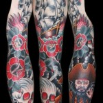 Dark Waters Black Beard Pirate tattoo sleeve